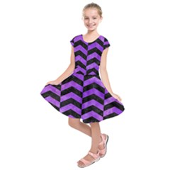 Chevron2 Black Marble & Purple Watercolor Kids  Short Sleeve Dress