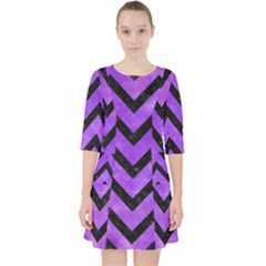 Chevron9 Black Marble & Purple Watercolor Pocket Dress