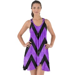 Chevron9 Black Marble & Purple Watercolor Show Some Back Chiffon Dress