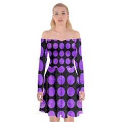 Circles1 Black Marble & Purple Watercolor (r) Off Shoulder Skater Dress