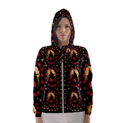 Pumkin Witch In Candles And White Magic Hooded Wind Breaker (women)
