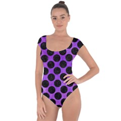 Circles2 Black Marble & Purple Watercolor Short Sleeve Leotard