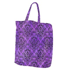Damask1 Black Marble & Purple Watercolor Giant Grocery Zipper Tote