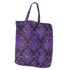Damask1 Black Marble & Purple Watercolor (r) Giant Grocery Zipper Tote