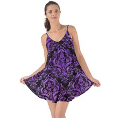 Damask1 Black Marble & Purple Watercolor (r) Love The Sun Cover Up