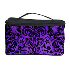 Damask2 Black Marble & Purple Watercolor Cosmetic Storage Case