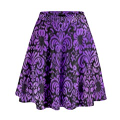 Damask2 Black Marble & Purple Watercolor (r) High Waist Skirt