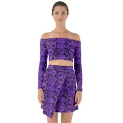 Damask2 Black Marble & Purple Watercolor (r) Off Shoulder Top With Skirt Set