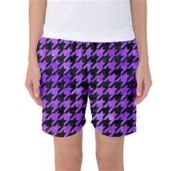 Houndstooth1 Black Marble & Purple Watercolor Women s Basketball Shorts