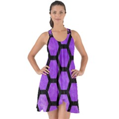 Hexagon2 Black Marble & Purple Watercolor Show Some Back Chiffon Dress