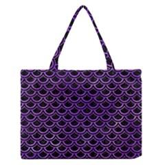 Scales2 Black Marble & Purple Watercolor (r) Zipper Medium Tote Bag