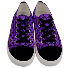 Scales3 Black Marble & Purple Watercolor Men s Low Top Canvas Sneakers