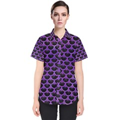 Scales3 Black Marble & Purple Watercolor (r) Women s Short Sleeve Shirt