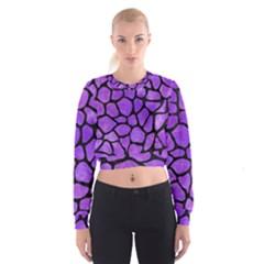 Skin1 Black Marble & Purple Watercolor (r) Cropped Sweatshirt