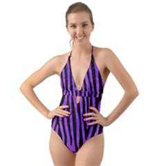 Skin4 Black Marble & Purple Watercolor (r) Halter Cut Out One Piece Swimsuit