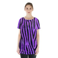 Skin4 Black Marble & Purple Watercolor (r) Skirt Hem Sports Top