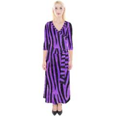 Skin4 Black Marble & Purple Watercolor (r) Quarter Sleeve Wrap Maxi Dress