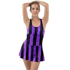 Stripes1 Black Marble & Purple Watercolor Swimsuit