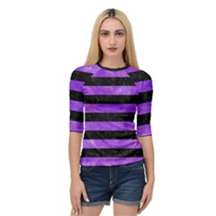 Stripes2 Black Marble & Purple Watercolor Quarter Sleeve Raglan Tee