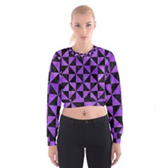 Triangle1 Black Marble & Purple Watercolor Cropped Sweatshirt