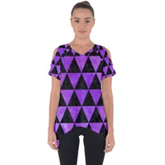 Triangle3 Black Marble & Purple Watercolor Cut Out Side Drop Tee