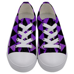 Triangle3 Black Marble & Purple Watercolor Kids  Low Top Canvas Sneakers