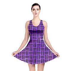 Woven1 Black Marble & Purple Watercolor Reversible Skater Dress
