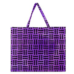 Woven1 Black Marble & Purple Watercolor Zipper Large Tote Bag
