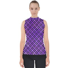 Woven2 Black Marble & Purple Watercolor Shell Top