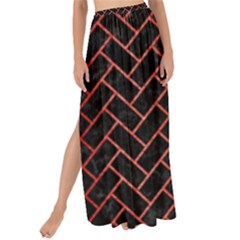 Brick2 Black Marble & Red Brushed Metal (r) Maxi Chiffon Tie Up Sarong