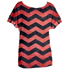 Chevron3 Black Marble & Red Brushed Metal Women s Oversized Tee
