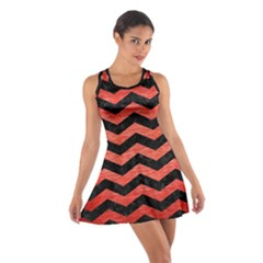 Chevron3 Black Marble & Red Brushed Metal Cotton Racerback Dress