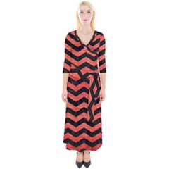 Chevron3 Black Marble & Red Brushed Metal Quarter Sleeve Wrap Maxi Dress