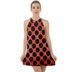 Circles2 Black Marble & Red Brushed Metal Halter Tie Back Chiffon Dress