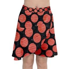 Circles2 Black Marble & Red Brushed Metal (r) Chiffon Wrap