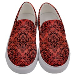 Damask1 Black Marble & Red Brushed Metal Men s Canvas Slip Ons