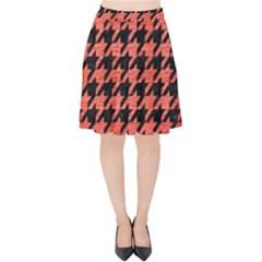 Houndstooth1 Black Marble & Red Brushed Metal Velvet High Waist Skirt