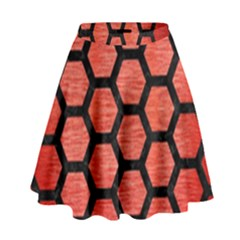 Hexagon2 Black Marble & Red Brushed Metal High Waist Skirt