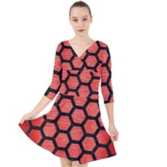 Hexagon2 Black Marble & Red Brushed Metal Quarter Sleeve Front Wrap Dress