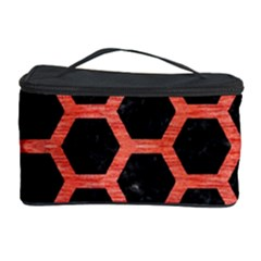 Hexagon2 Black Marble & Red Brushed Metal (r) Cosmetic Storage Case