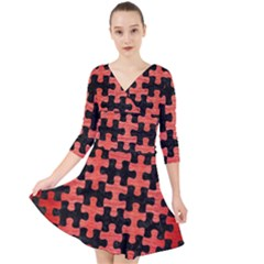 Puzzle1 Black Marble & Red Brushed Metal Quarter Sleeve Front Wrap Dress