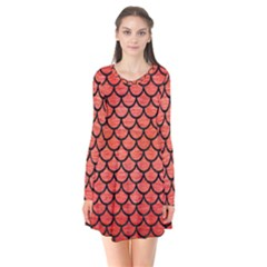 Scales1 Black Marble & Red Brushed Metal Flare Dress