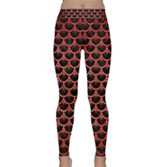 Scales3 Black Marble & Red Brushed Metal (r) Classic Yoga Leggings