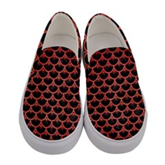 Scales3 Black Marble & Red Brushed Metal (r) Women s Canvas Slip Ons