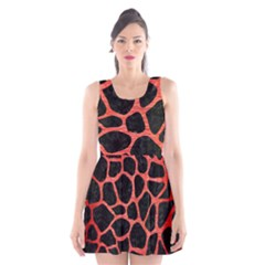 Skin1 Black Marble & Red Brushed Metal Scoop Neck Skater Dress