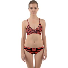 Skin2 Black Marble & Red Brushed Metal Wrap Around Bikini Set