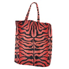 Skin2 Black Marble & Red Brushed Metal Giant Grocery Zipper Tote