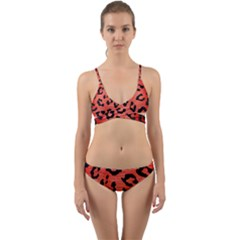 Skin5 Black Marble & Red Brushed Metal (r) Wrap Around Bikini Set