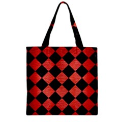 Square2 Black Marble & Red Brushed Metal Zipper Grocery Tote Bag