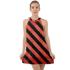 Stripes3 Black Marble & Red Brushed Metal Halter Tie Back Chiffon Dress